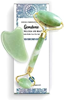 Jade Roller and Gua Sha Set - UPGRADED Facial Body Eyes Neck Massager Tool for Beautiful Skin Detox - Reduce Wrinkles Aging - Original Natural Jade Stone with Bag, Ebook