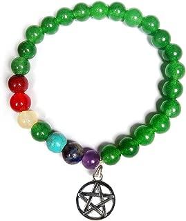 Reiki Crystal Products Crystal Green Jade Bracelet, 7 Chakra Bracelet, Combination Bracelet with Star of David Charm Bracelet 8 mm Round Beads