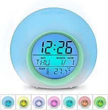 7 Farben Digitaler Wecker f/ür Kinder LED Lichtwecker mit Datum und Temperatur 12//24 Stunden Innentemperaturanzeige f/ür Kinder M/ädchen Jungen IWILCS LED Kinderwecker