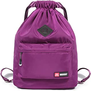 SportsNew Drawstring Sports Backpack - Gym Sack - Lightweight Sackpack Bag with Shoes Compartment for Men Women, Purple