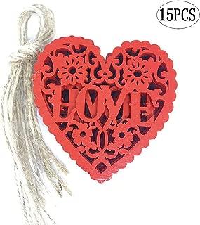 BinaryABC Heart Wooden Decoration DIY Crafts Hanging Pendant Ornament,15Pcs(Red)