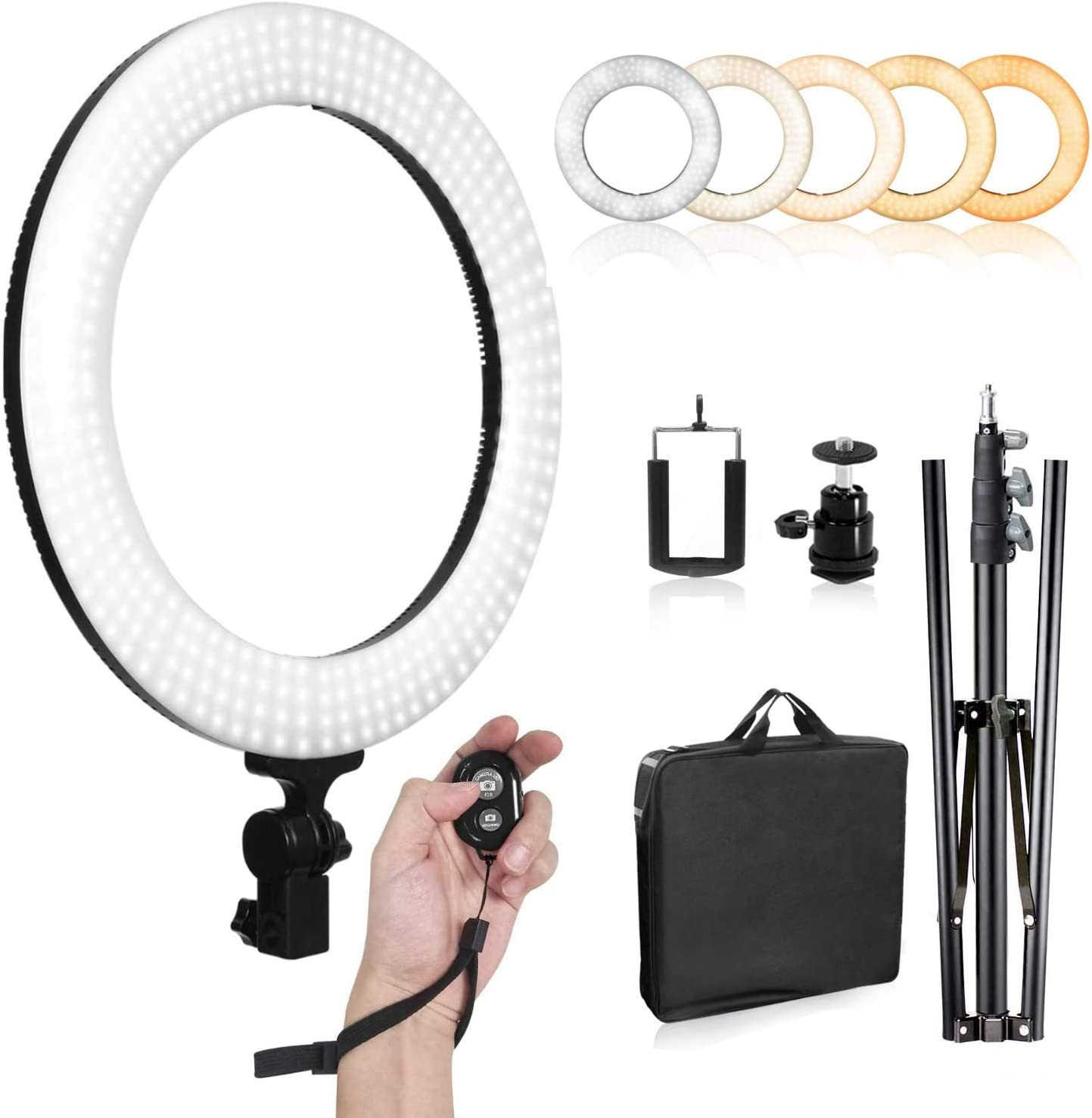 LIMOSTUDIO 14 inch. LED Ring Light Tripod Indianapolis Mall with Stand Color Max 82% OFF Dual