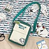 Bolso pequeño de Nylon Estilo de Verano Bolso de Hombro Fresco literario Bolsa de Mensajero Impermeable Japonesa Dulce niña Vertical Verde