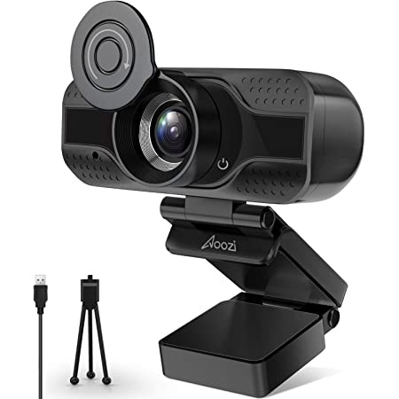 Webcam with Microphone, Streaming Webcam for Computer Widescreen Video Calling and Recording, USB Web Camera Built-in Mic, Flexible Rotatable Clip and Tripod