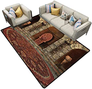 Bedroom Carpet Gothic House Decor Throne of King in Vintage Style Palace Chandelier Medieval Architecture Theme Burgundy Grey Bedroom Rug Area 5'x8'