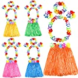 FEPITO 5 Set 25 Pezzi Hawaiian Hula Hula Gonne Set Include Fiore Leis Collana Fascia bracciali Luau Gonne per Bambini Hawaii Costume Tropicale Luau Birthday Party Supplies