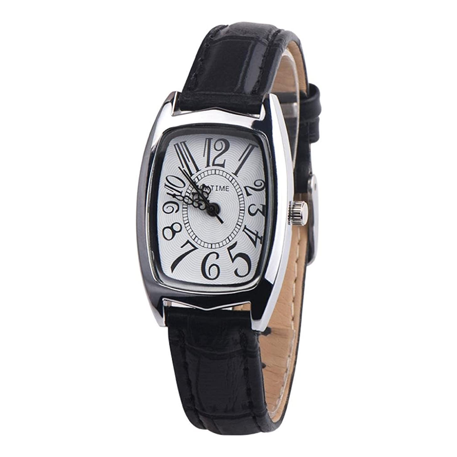 Swyss Women Square Ladies Watch Casual Leather Band Quartz Analog WristWatches Chic Charm Accessories NEW HOT FASHION (Black)
