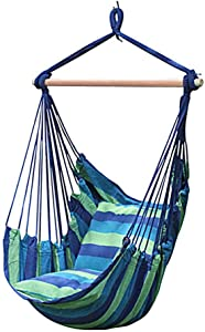 Kindlyperson Hammock Swing Net Chair with Pillows for Adult Children Outdoor Indoor Household College Bedroom 150x 100x 98cm