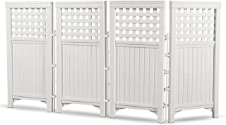 Suncast 4 Panel Outdoor Screen Enclosure - Freestanding Steel Resin Reversible Panel Outdoor Screen - Perfect for Concealing Garbage Cans, Air Conditioners - White
