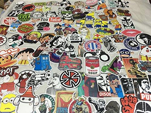 ZERUU Random Sticker (Packung mit 50 100 200 500 Stück) Fußball Skateboard Snowboardfahren Musik Film Laptop Gepäck Auto Fahrrad Fahrrad Decals Mix Alot Fashion Cool (500)