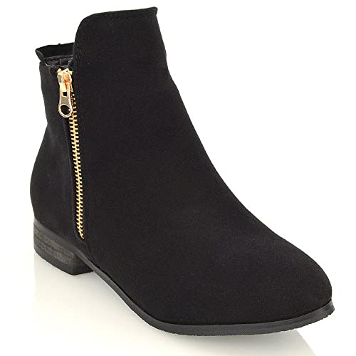 24a628a545c Ladies Chelsea Low Block Heel Pixie Buckle Zip Winter Womens Ankle Boots  Size 3 4 5