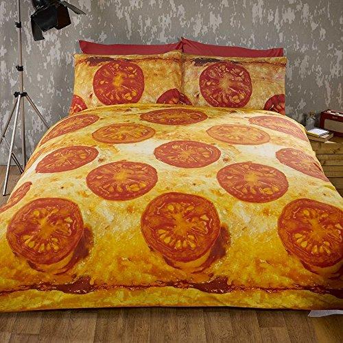 Rapport dekbedovertrek en 2 kussenslopen, motief: pizza, king size-formaat, beddengoedset