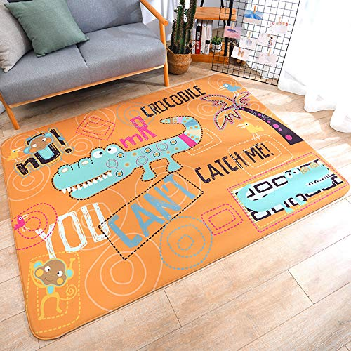 Cartoon casa casa Skid 150 * 200cm Piccolo Coccodrillo,Tappetino da Bagno Antiscivolo Tappetini per Il Bagno Vasca Doccia Tappeto da Terra in Microfibra Ciniglia Assorbente Lavabile in Lavatrice Morb