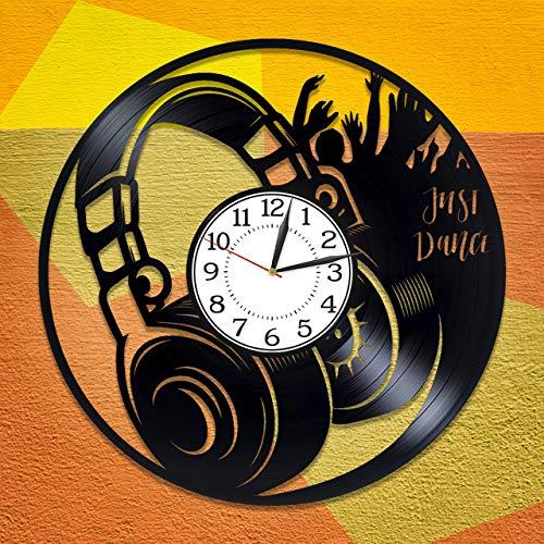 Música Regalo de Cumpleaños Idea Auriculares Vinilo Reloj para Hombre y Mujer Música Original Decoración del Hogar Auriculares Vinilo Record Reloj de Pared Auriculares Reloj Hecho a Mano