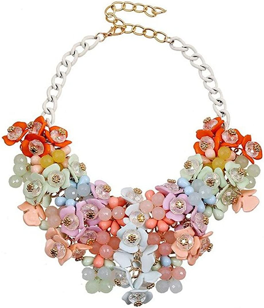 Adorable Woman Stunning Pure Fresh and Candy Color Crystal Gem Flower Necklace Collar Bib for Women