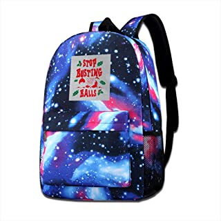 Galaxy Printed Shoulders Bag Christmas Baubles Stop Busting My Balls Fashion Casual Star Sky Backpack For Boys&girls