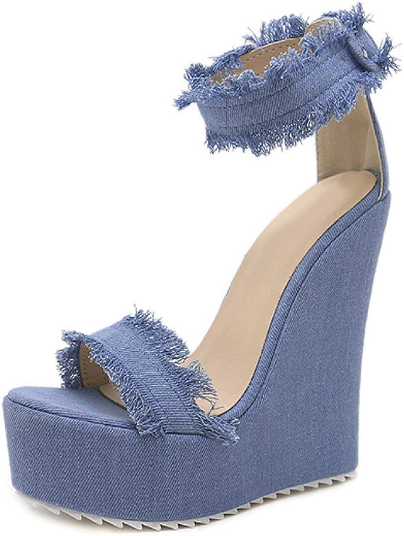 Hoxekle Women bluee Denim High Heel Platform Wedges Sandals Sexy Buckle Female shoes Summer No-Slip Footwear