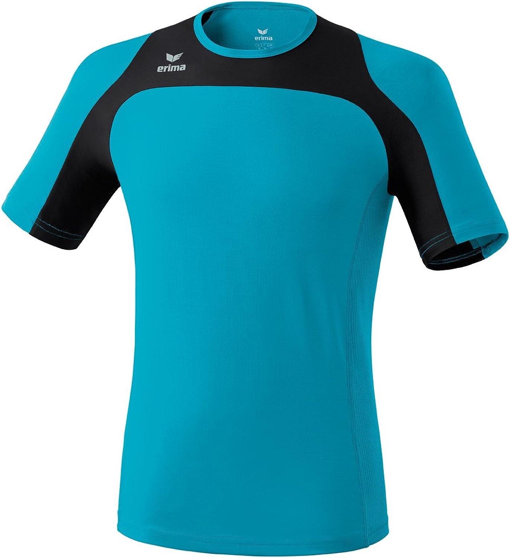 (Small, turquoise - Petrol black) - ERIMA Men's Running T-Shirt Race Line