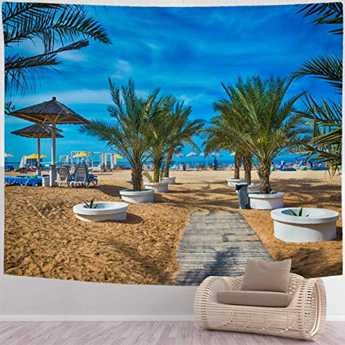 BEISISS Beach Tapestry Psychedelic Art Tapestry The Beach in Ras Al Khaimah with Umbrellas and Sunbeds Wall Hanging Tapestries for Living Room and Bedroom,Large Size 110x90 in
