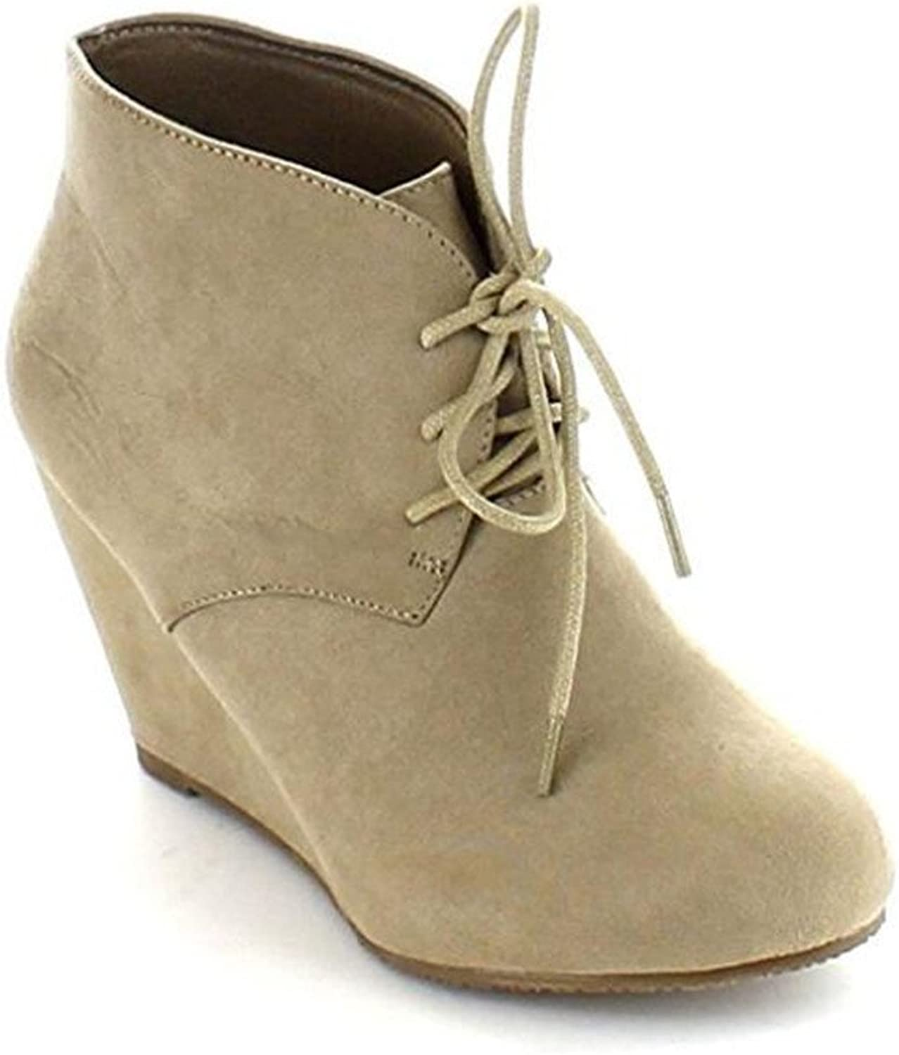 ShoBeautiful Womens Lace up Wedges Bootie Fashion Casual Outdoor Adorable Almond Toe Ankle Boots
