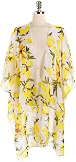 Women's Beach Cover Up Summer Sun Protection Kimono Cardigan Chiffon Lemon Pattern Bikini Top Shawl,Beige