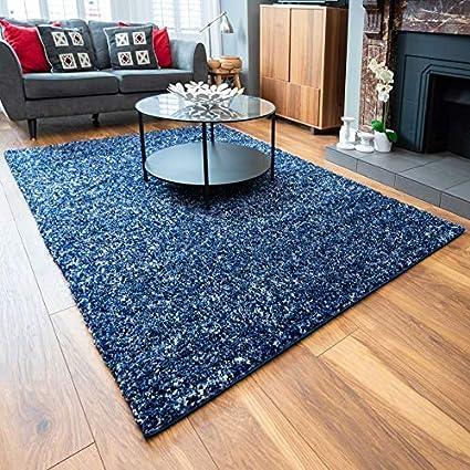 Large Plush Navy Blue 3cm Pile Shaggy Shag Rug Denim Speckled Thick Fluffy Living Room Lounge Sunroom Bedroom Big Rugs 200cm X 290cm Amazon Co Uk Kitchen Home