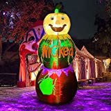 Hourleey 6 FT Halloween Inflatables Stacked Pumpkins, Blow Up Inflatable Halloween Decorations with Build-in LED Lights for Outdoor Indoor Party, Yard, Garden, Lawn Home Decor