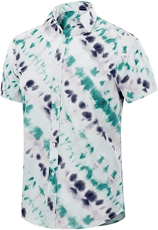 Men's Shirts,2021 Casual Hawaiian Shirt Mens Short Sleeve Shirts Button Down Beach Tops Shirts for Men
