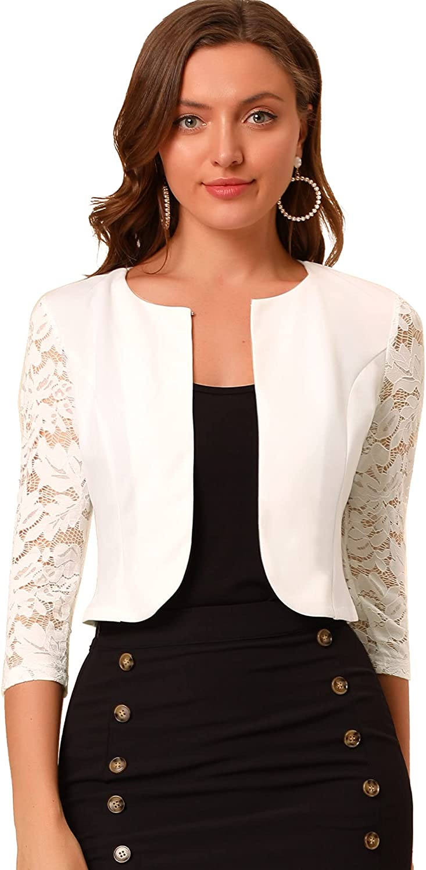 Allegra K Women's Elegant Floral Lace Shrug Top Round Neck Sheer Cropped Cardigans