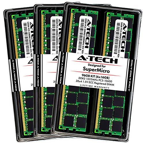 A-Tech 96GB (6 x 16GB) DDR3 1333MHz ECC RDIMM Memory Kit for SuperMicro Super X8DTU-6F+, X8DTU-6TF+, X8DTU-6F+-LR, X8DTU-6TF+-LR - PC3-10600 Registered DIMM 2Rx4 1.5V Dual Rank RAM Upgrade Modules