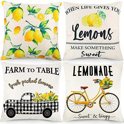 CDWERD 4pcs Summer Lemon Throw Pillow Covers 18x18 Inches Buffalo Check Summer Decorations Farmhouse Pillowcase Cotton Linen Cushion Case Home Decor for Car Sofa Bed Couch
