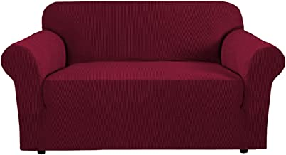 PrimeBeau Sofa Slipcover 1 Piece Jacquard Stretch Sofa Cover for 2 Seater Sofa Stretch Anti-Wrinkle Slip Resistant Form Fi...