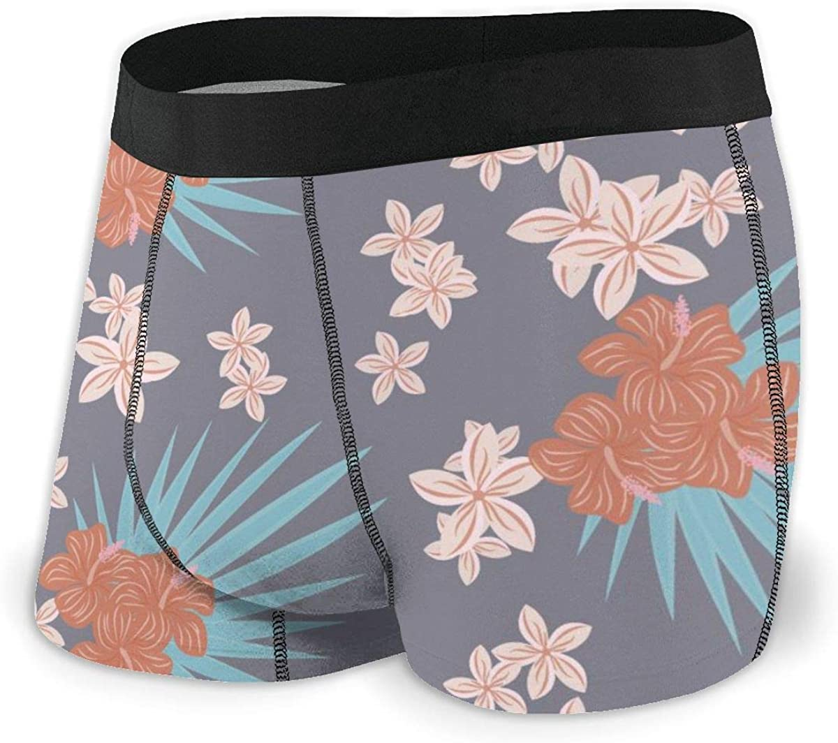 Randolph Wordsworth Mens Boxer Briefs Tropical Flowers Isolated. Breathable Underwear