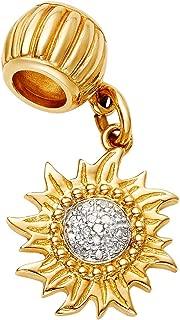 Coquí el Original Sun Charm Solid 14K Gold with Diamonds in Center Fits Pandora
