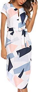 Temofon Womens Dresses Summer Casual Floral Geometric Pattern Short Sleeve Midi V-Neck Party Dress with Belt S-2XL