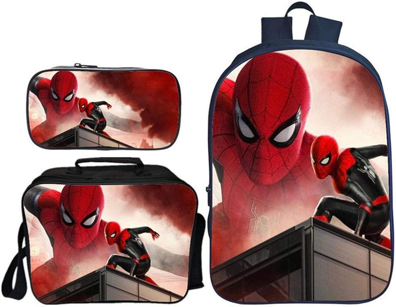 AH-Backpack Zaino per Bambini Stampa 3D Spider-uomo Hero Adventure Pattern School Pack elementare Set di Tre Pezzi Borsa per Scuola Materna con Pranzo al Sacco e Astuccio,Colour8
