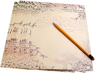 16Pcs Retro Floral Vine Kraft Paper Stationery Calligraphy Writing Papers