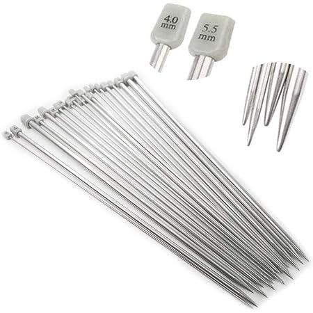Anyasen Aiguilles à Tricoter en métal Aiguilles à Tricoter Longues Aiguilles à Tricoter en métal Aiguilles à Tricoter en métal Set de 11 Paires (22 pcs)