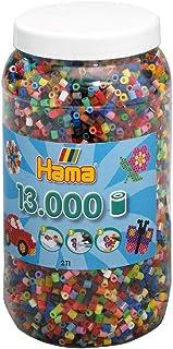 Hama Perlen 211-68 perles à repasser XXL Boîte de 13 000 perles multicolores Midi de 5 mm de diamètre, 52 couleurs, plaisi...