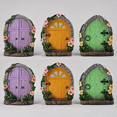 Prezents.com Lot de 6 portes de fées miniatures – Décoration de jardin d'arbre – Mini lutin insolite lutin lutin, Hobbit – Hauteur 5 cm