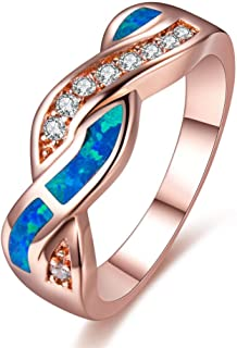 HQ Jewelry Wave Blue Fire Opal CZ Cross Wedding Band Ring Rose Gold Filled Women (6)