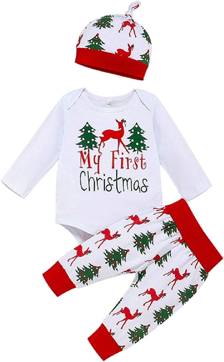 Newborn Baby Boy Girl My First Christmas Romper Bodysuit + Deer Print Plaid Pants Hat Headband Outfits Sets