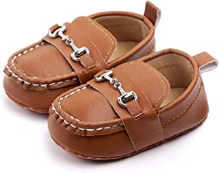 Lidiano Baby Soft Sole Toddler Loafers Boat Shoes Crib Shoes (0-6 Months, Brown)