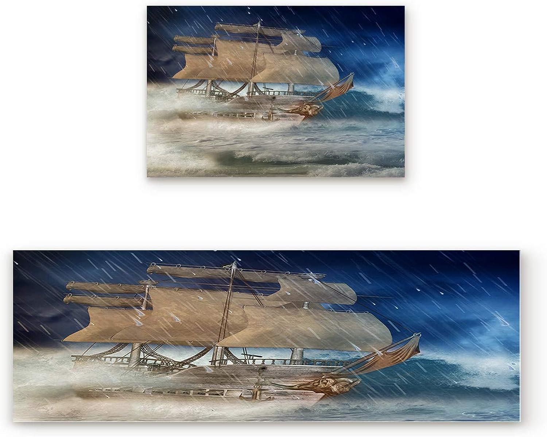 2 Piece Non-Slip Kitchen Mat Rubber Backing Doormat A Sailboat Sailing in The Storm Runner Rug Set, Hallway Living Room Balcony Bathroom Carpet Sets (19.7  x 31.5 +19.7  x 63 )