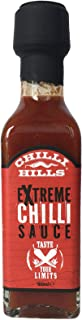Chilli Hills salsa picante artesanal EXTREME. Hecha de extracto puro de chiles HABANERO, NAGA y Trinidad MORUGA SCORPION. Natural, sin OMG ni gluten, vegana. Botellita de cristal de viaje - 100 ml