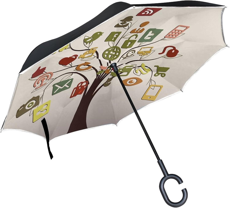 Double Layer Ingreened Communication Icons Internet Media Media Misc Umbrellas Reverse Folding Umbrella Windproof Uv Predection Big Straight Umbrella for Car Rain Outdoor with CShaped Handle