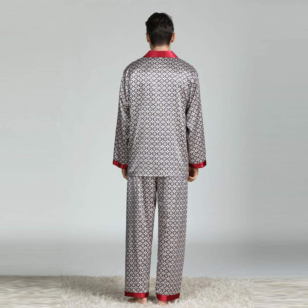 Mens Pajama Set 2019 New Long Sleeve Satin Printed Button-Down Silky Sleepwear Loungewear