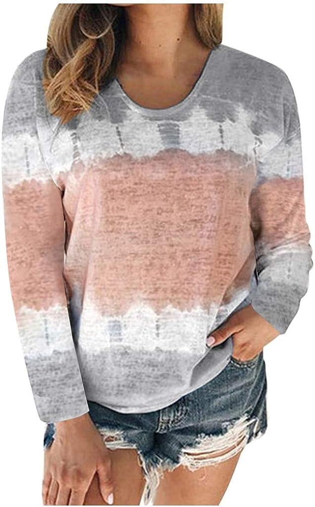 FABIURT Valentines Pullover Sweatshirts for Women,Womens Fashion Long Sleeve Color Block Crewneck Casual T Shirts Tops
