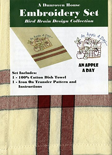 Dunroven House Coton Un Apple a Day Oiseau Cerveau Design Collection Broderie set-20-inch x 71 cm
