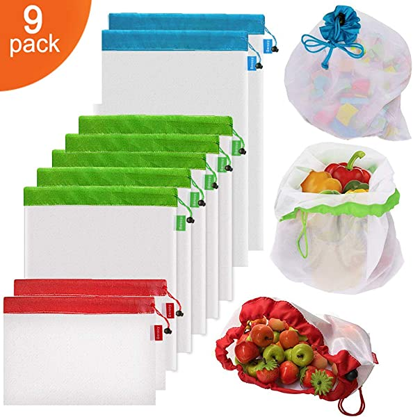 9Pcs Reusable Mesh Produce Bags Berosy Washable Premium See Through Lightweight Mesh Bags For Fruit Vegetable Toys Grocery And Supermarket Shopping Storage 2 Small 5 Medium 2 Large